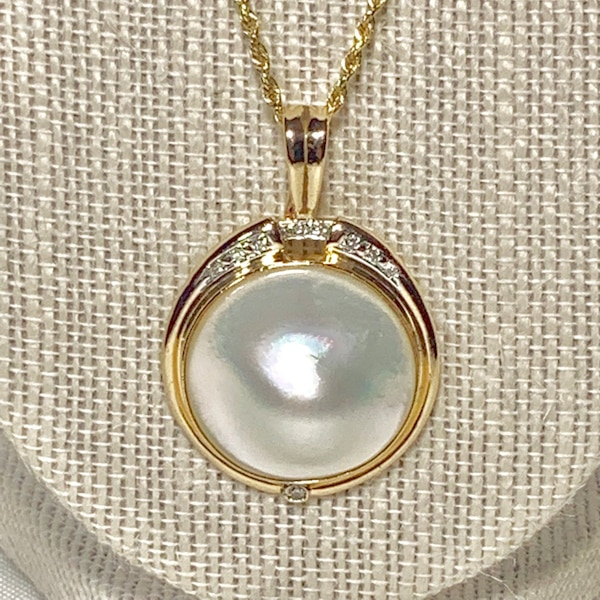 Genuine 14k Gold Blister Pearl Diamond Pendant with 14k Rope Chain b2696217-4422-40c2-a5d5-2a10308a5145