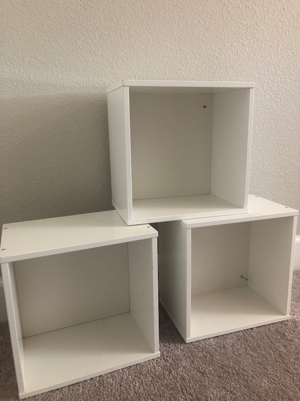 3 white cube shelves!