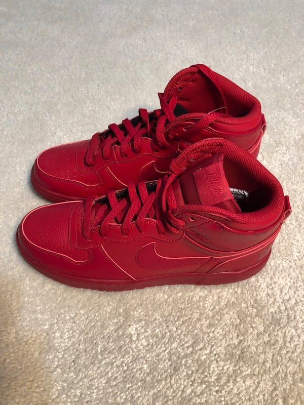 Men's Nike Big High Basketball Shoes Red Leather (Retail $100) e0a0b8aa-def3-4a01-8c12-3b612e5fd545