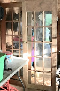 French Doors. Wooden. No frame. One glass pane is broke but easy fix Chickamauga, 30707