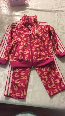 Red and peach adidas zip-up jacket with pants set