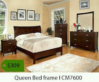 brown wooden bed frame with white mattress Whittier