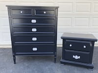 Drexel Solid Wood 6 Drawer Tallboy Dresser With Nightstand Black With Silver Handles Manassas