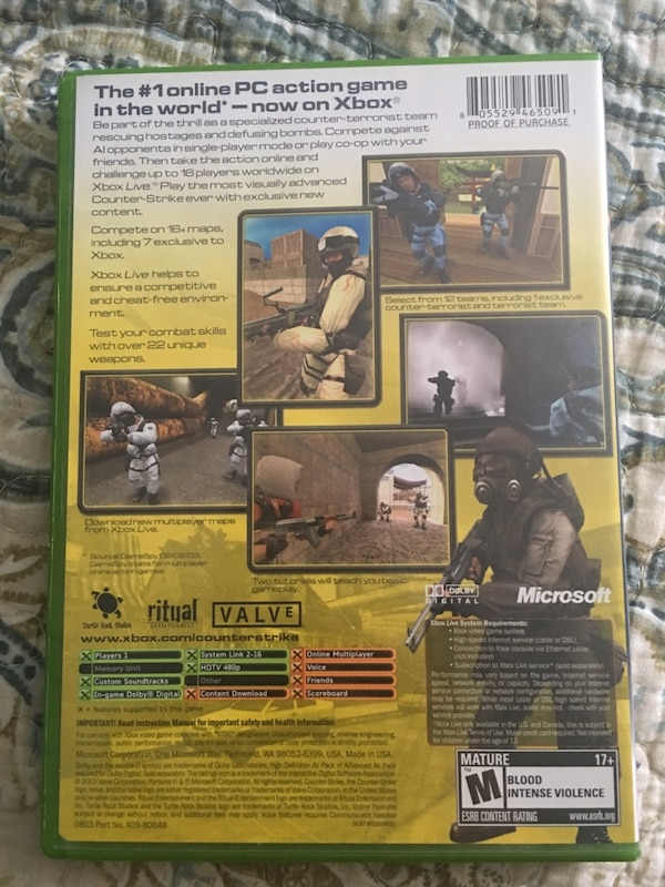 Xbox One Counter Strike Game Case