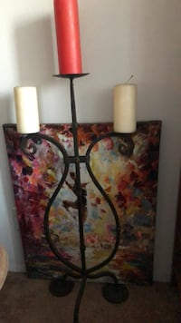 Oil Painting  and Large Candle holder.  New York, 11375