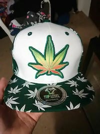 white and green cannabis print snapback cap