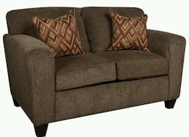 """""""Loveseat dark brown with throw pillows """"         Can deliver"""