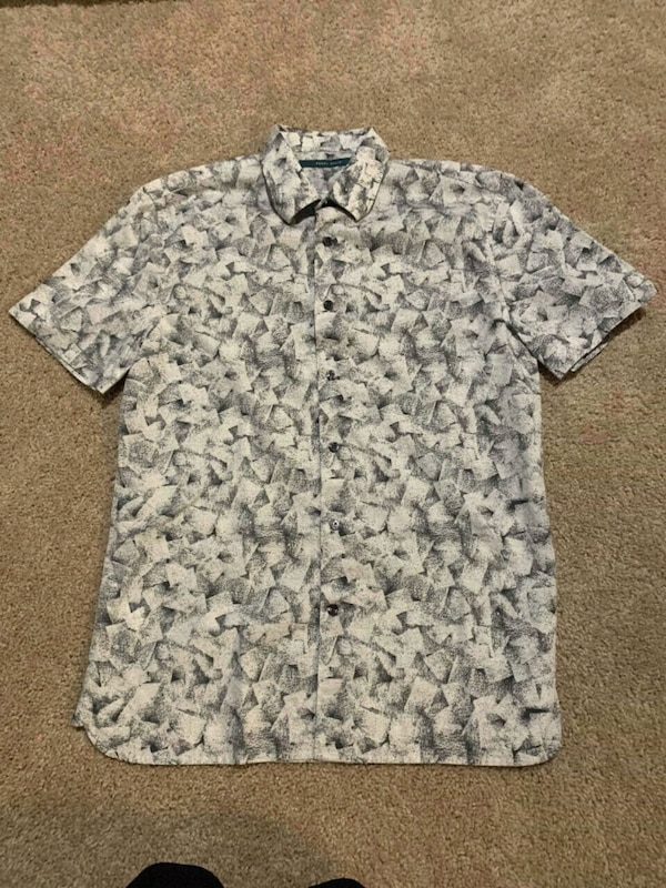 gray and white floral button-up shirt