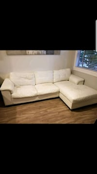 white faux leather sectional couch Vancouver, V5N 4B9