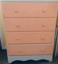 Peach and white dresser on wheels Pataskala