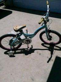 toddler's blue and black bicycle with training wheels Los Angeles, 90744