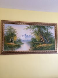 Brown wooden framed painting of trees Mississauga, L5C 3E2