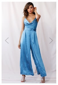 Mali Wide Leg Belted Jumpsuit Midnight Blue Size M  Vaughan