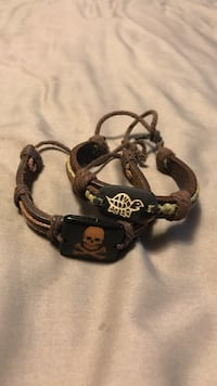 Pair of leather bracelets