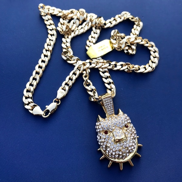 """New 14k Gold Plated Cuban Link Chain Necklace with Pendant 30"""" or 24"""""""