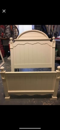 White wooden headboard and footboard with mattress and box spring 204 mi