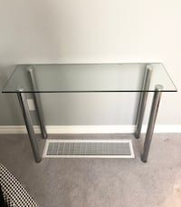 Modern Glass Side Table with Chrome Legs