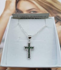 Collana +croce in argento Stirling 925