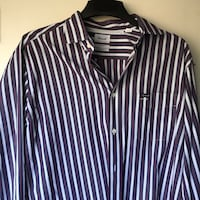 Faconnable Men's Large Dress Shirt Button Down Classique Deauville Striped 37 km