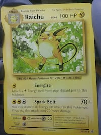 Rare Raichu Pokemon card