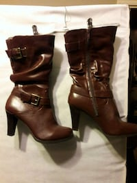 """ME TOO"" CHOCOLATE HALF BOOTS W/BRASS BUCKLE 2260 mi"