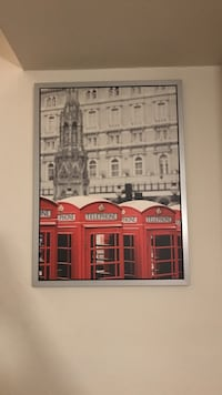 selective color photography of red telephone booth framed photo Ross, 15237