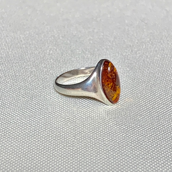 Genuine Sterling Silver Baltic Amber Ring 3