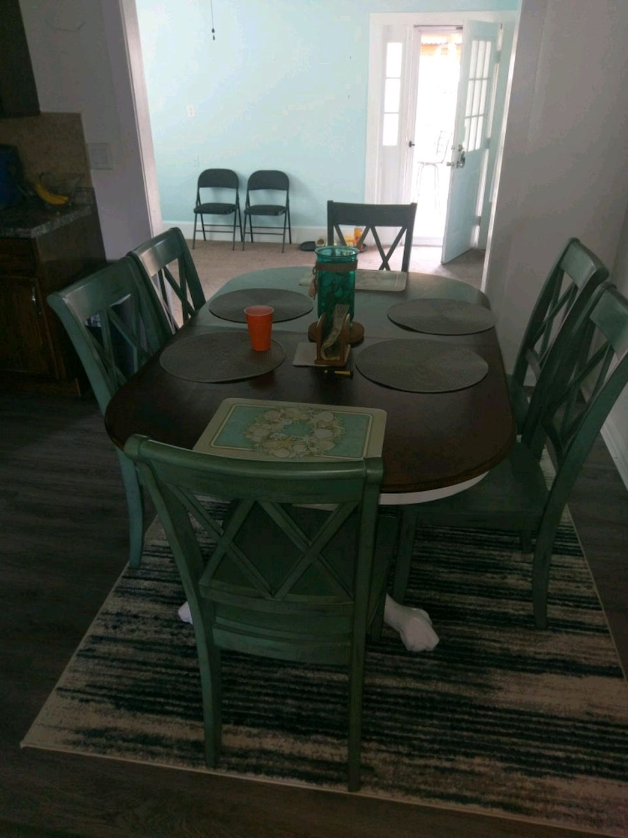 rectangular glass top table with four chairs dining set for sale  Kingsland