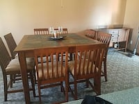 square brown wooden base marble top table with eight windsor chairs dining set Clinton, 61727