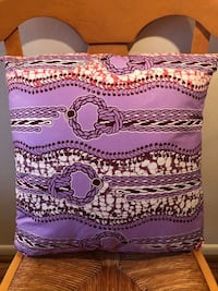 "Handmade Purple Chord African Print Throw Pillow 18""x18"" - from Ghana"