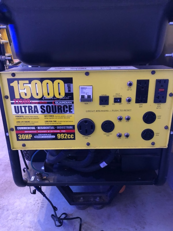 Used Almost new 15kw generator   asking 2200 obo for sale in