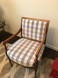 Brown wooden framed white and blue plaid padded armchair Brentwood, 94513