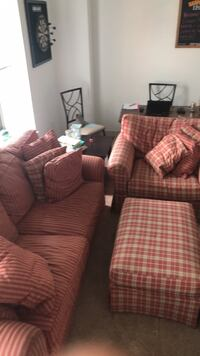 Plaid Fabric Living Room Set with Loveseat, Ottoman, and Couch Nashua, 03060