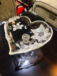 Engraved Glass Bowl with hearts & flowers home decor candy heart bowl