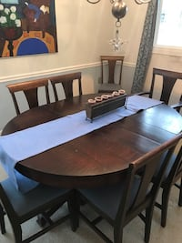 Rectangular brown wooden table with four chairs dining set Reston, 20191