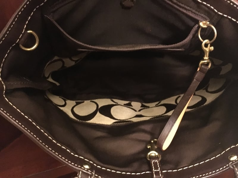 Brown and beige monogrammed Coach tote bag 1