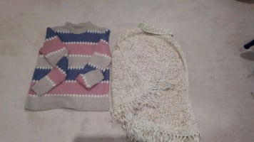 Hand knitted sweater and poncho