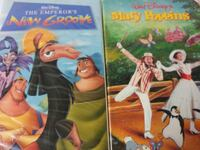 The Emporers New Groove and Mary Poppins vhs tapes