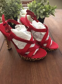 Nina Sz 8.5 Red and Leopard Print Strappy Heels