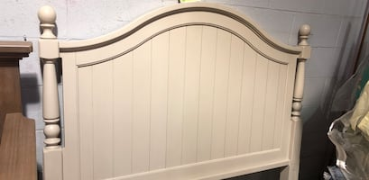 Cream wooden headboard double size
