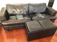 Black leather tufted sofa Montreal, H3H 2S8