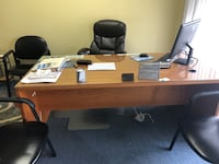 2 Brown wooden desk with 4 leather chair and 2  black leather rolling chair Alexandria, 22314