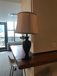 Bronze Standing Room Lamp w/ Gold Shade