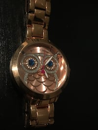 gold round owl face analog watch Orange, 92868