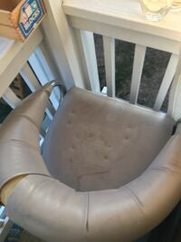 White leather padded salon haircut style chair. Works but is a little worn La Mesa, 91942