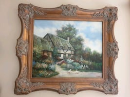 COTTAGE HOUSE PAINTING ON CANVAS