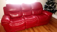 Red leather 3-seat sofa  Omaha, 68131