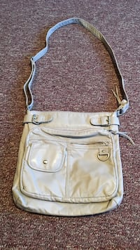 Gray Leather Cross body Bag