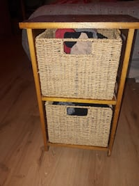 brown wooden 2-layered shelf with two brown wicker London