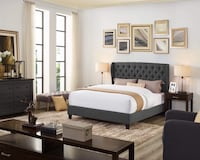Dark gray fabric queen bed with tufting (no mattress) Ontario, 91762